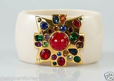 Kenneth Jay Lane Ivory Color Large Center Dark/Ruby Cross Cuff Bracelet
