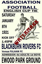 BLACKBURN ROVERS - VINTAGE 1920's STYLE MATCH POSTER