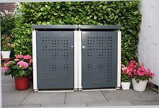 Mülltonnenbox für zwei 120-Liter Tonnen, NEU, Stahlblech pulverbeschichtet