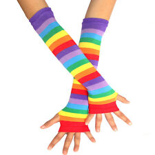 Rainbow fingerless gloves Long Punk Gothic stripes