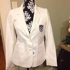 Women's Lacoste White Seersucker Light Weight Cotton Blazer Size 4 MSRP $235 NWT
