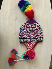 PERUVIAN CHULLO HAT WITH BEADS MULTICOLOURED RAVE FESTIVAL  HAND MADE ^19