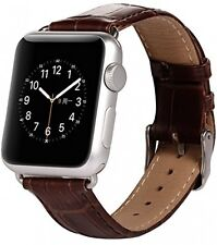 LUXURY GENUINE LEATHER Crocodile Croc Band Strap Apple Watch iWatch Brown 42mm