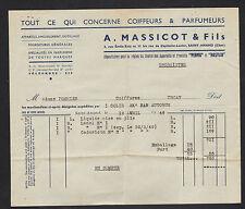 """SAINT-AMAND-MONTROND (18) PRODUITS pour COIFFEUR & PARFUMEUR """"A. MASSICOT"""" 1949"""