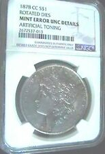 1878-CC SILVER MORGAN DOLLAR ROTATED REVERSE MINT ERROR NGC Unc.DETAILS