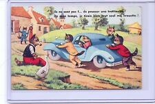 VINTAGE FRENCH DRESSED CATS OUT OF GAS PUSHING CAR #2250 POSTCARD M.D. PARIS