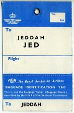 ALIA - ROYAL JORDANIAN AIRLINES to JEDDAH / SAUDI ARABIA - Old Luggage Tag, 1960