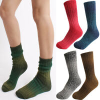 Women Fall Winter Warm Thick Wool Gradation Color Knit Sweater Ankle Crew Socks