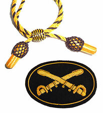 American Civil War Confederate US Officers Gold & Black Hat Cord & Cavalry Badge