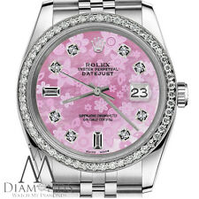 Women`s Rolex 26mm Datejust Pink Flower MOP Mother of Pearl Dial 8+2 Dial Watch