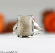FOSSIL CORAL & .925 Sterling Silver RING Size ~5.75  Y847A