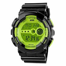 Men's Sports LCD Digial Alarm Timer Stopwatch Multifunction Wrist Watch - Green