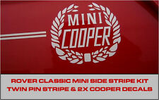 Classic Rover Mini Cooper TWIN Side Stripe Decal KIT corona di alloro gessato