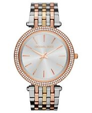 New Michael Kors Darci Tri-Tone Silver Rose Gold MK3203 Ladies Glitz Watch