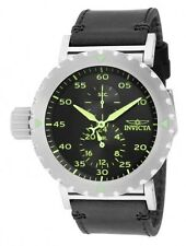 New Mens Invicta 14639 I-Force Black Dial Leather Watch