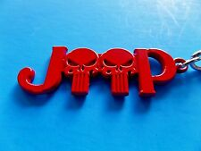 PUNISHER RED JEEP RENEGADE WRANGLER COMMANDER COMPASS CHEROKEE KEYCHAIN KEY NEW