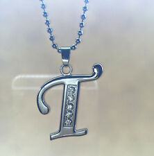 NEW Fashion letters T name silver  crystal pendant necklace chain JEWELRY