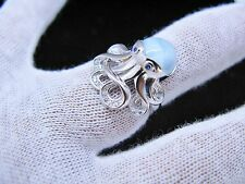 Natural Blue Larimar Octopus Premium 10mm Cabochon. 925 Sterling Silver Ring 9