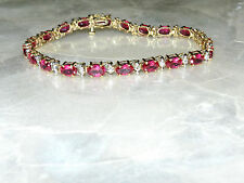 10K Yellow Gold Pink Sapphire And Diamonds Bracelet  7.5 Inch