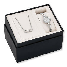 NWT Bulova Women's Crystal Watch and Necklace Set 96X129