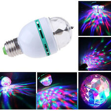 3W E27 LED RGB Crystal Ball Lamp Rotating Stage Light Bulb for Club Disco Party