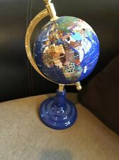 Blue Lapis Multi Semi PRECIOUS GEM STONE World GLOBE Brass Arc Office Table