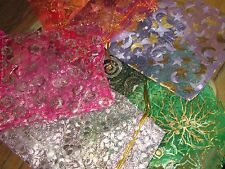 CHRISTMAS ORGANZA BAGS, GIFTS PACKING ASSORTED COLORS 25 BAGS SIZE 12 X 9 CM