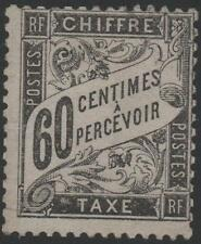 """FRANCE STAMP TIMBRE TAXE N° 21 """" TYPE DUVAL 60c NOIR """" NEUF xx TB, SIGNE, J654"""