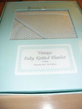 New Bubba Blue Vintage Knit Bassinette Baby Blanket in Gift Box Blue