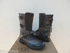 UGG COLLECTION SAVONA ASH LEATHER/ SHEARLING BUCKLE BOOTS, US 7/ EUR 38 ~ NEW