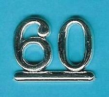 SILVER 60 NUMBERS/ NUMERALS (Pack of 6) CAKE DECORATIONS / CARD MAKING