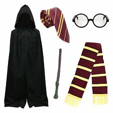 Adult School Boy Wizard Fancy Dress Costume (Cape, Tie, Scarf, Glasses, Wand)