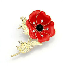 Fashion Women's Red Remembrance Poppy Gold Flower Brooch Pin Crystal Xmas Gift