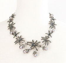 SILVER GRAY BLACK PEARL BEAD CRYSTAL RHINESTONE Choker Collar Statement Necklace