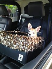 "Large Black Dog Car Booster Seat (""Leopard"" lining) - Dogs Out Doing *"