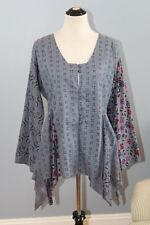 GUDRUN SJODEN Sz M Medium Blue Pleated Organic Cotton Tunic Top Shirt