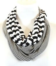 B132 Nautical Mixed Stripe Jersey Fabric Black & White Infinity Scarf Boutique