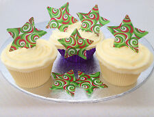 12 Christmas Red White Green Swirl Pattern Rice Wafer Paper Cupcake Cake Toppers