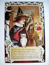 Very Charming Vintage Halloween Postcard w/ Owl, Cat, Witch Brewing a Heart *