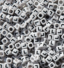 Letter L - 100pc 7mm Alphabet Beads White with Glossy Black Letters