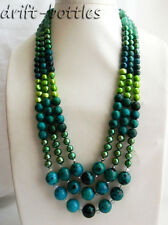 3Strands 23'' 14mm Round Malachite Green Baroque Freshwater Pearl Jade Necklace