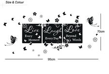 "Wall Quote Vinyl Decal ""Live every moment,Laugh every day,Love beyond words"" Art"