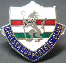 CHELSEA FC Vintage SUPPORTERS CLUB Badge Brooch Pin In chrome 33mm x 30mm