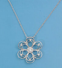 Plumeria Necklace with Cubic Zirconia Sterling Silver 925 Jewelry Gift 17 inches