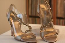 Badgley Mischka Beige Satin Amber Clear Crystals Strappy 4 1/2 Inch Heels 7.5 M