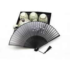New Chinese Japanese Folding Hand Held Fan Black Fan Silk Flower Bamboo Pocket