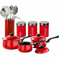 12 Piece Red Starter Kitchen Set Tea Coffee Sugar Saucepan Utensil Storage Set