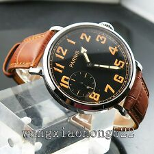 46mm Parnis hand winding 6497 black dial Brown Leather strap men wrist watch 445