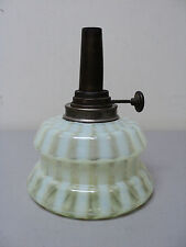 NICE ANTIQUE VICTORIAN PERIOD VASELINE OPALESCENT GLASS VERTICAL RIBBED OIL LAMP