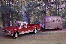 1968 CHEVY C-10  + AIRSTREAM CAMPER 1/64 SCALE COLLECTIBLE MODELS - DIORAMA